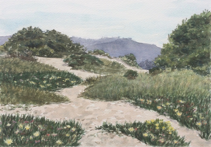 Carmel Dunes in Spring. Watercolor and Gouache.