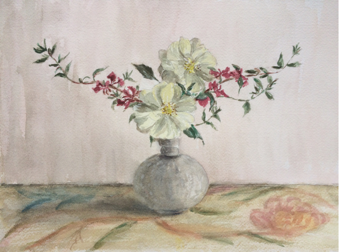 Wild Roses, Watercolor.