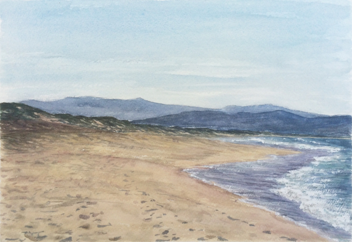 Marina Dunes Beach, Watercolor.