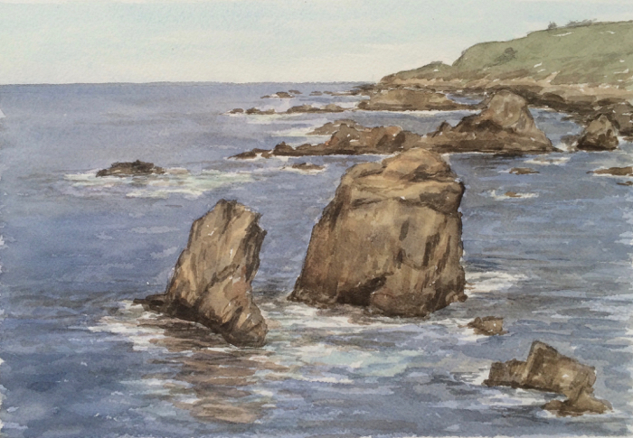 Garrapata Beach, Watercolor