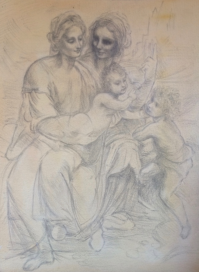 Copy of Leonardo da Vinci's Virgin and Child with St Anne and St John the Baptist. 9 x 12 in, Graphite on Paper.
