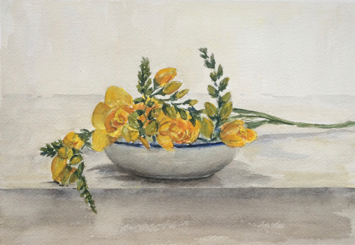 A Bowl of Freesia. 7 x 10 in, Watercolor.