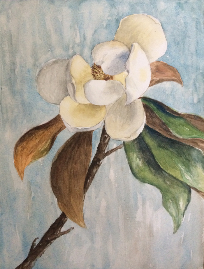 Magnolia Blossom, 9 x 12 in, Watercolor.