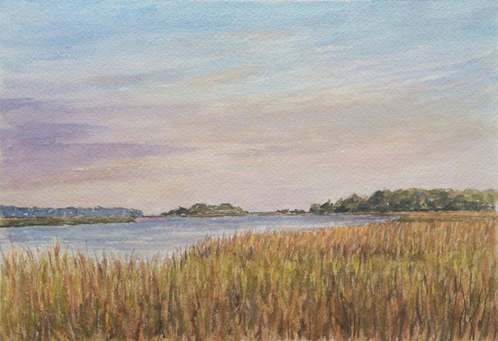 Sunset on the Toogoodoo River, 7 x 10 in, Watercolor.