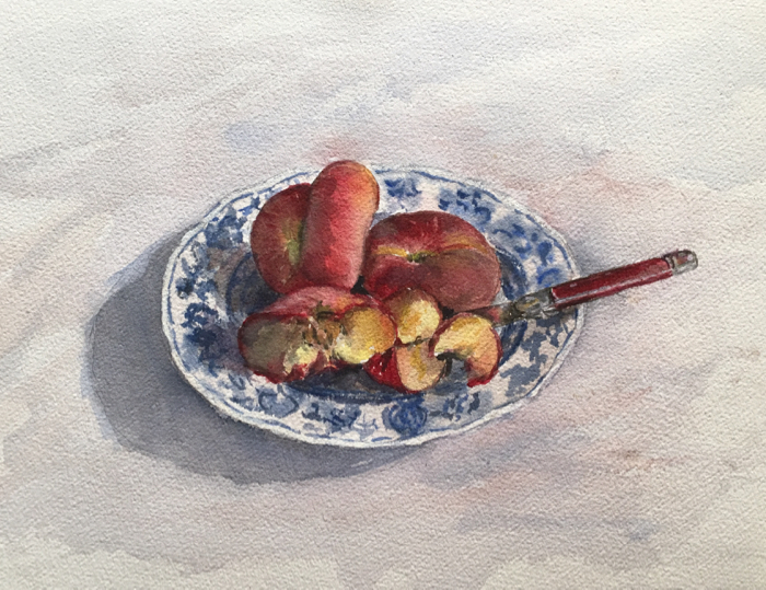 Peaches. 10 x 14 in, Watercolor.