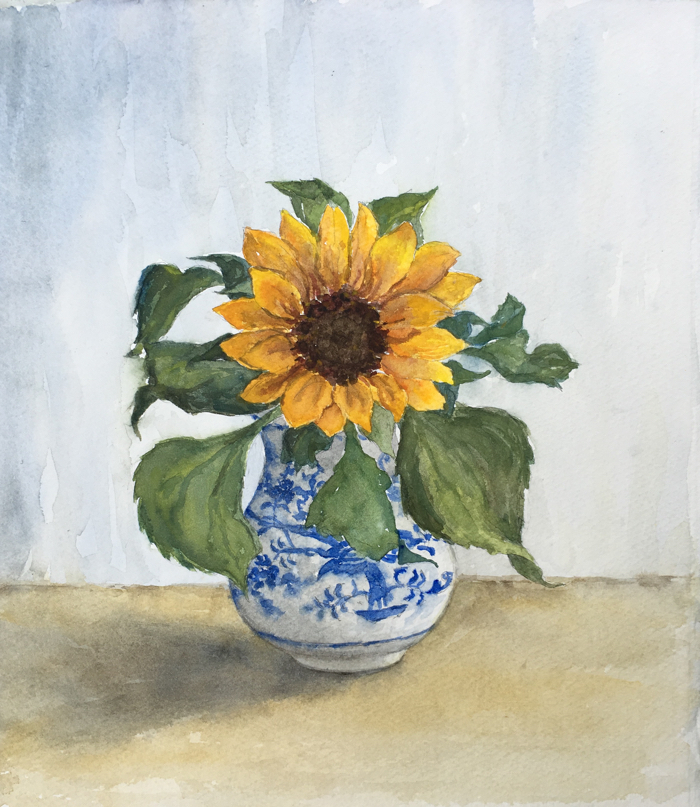 Sunflower. 25 x 28 cm, Watercolor.