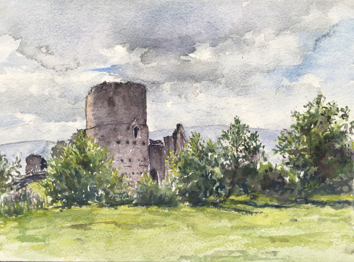 Tretower Castle, Watercolor.