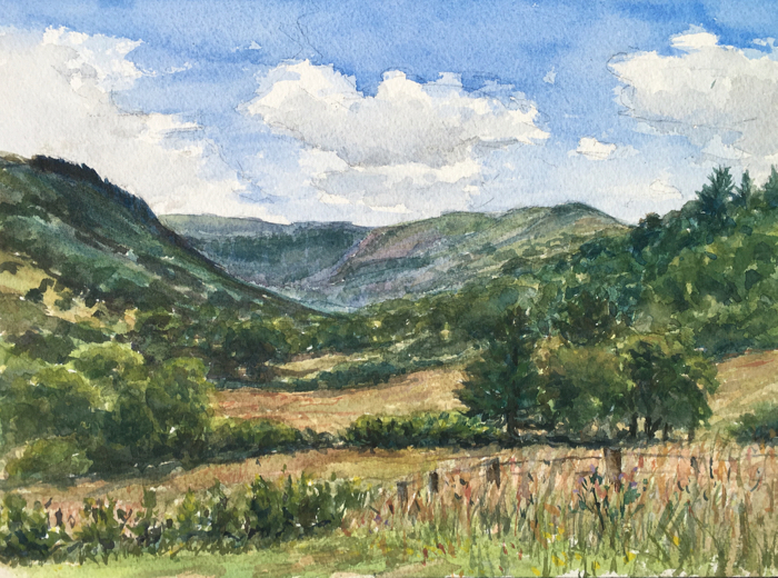 Dyffryn Crawnon Valley, Watercolor.