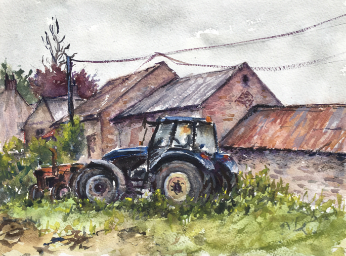 Ballymore Tractors, Watercolor.