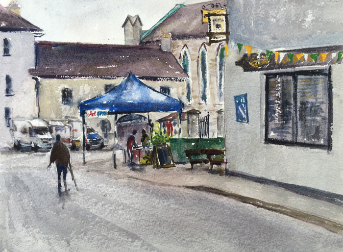 Street in Inistioge, Watercolor.