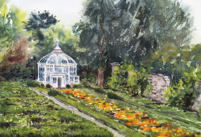 Woodstock Gardens, Watercolor.