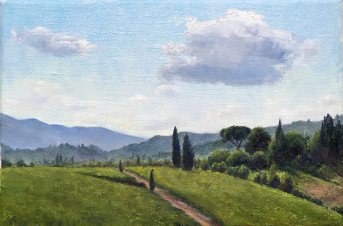 Morning in Chianti. Oil on Canvas, 20 x 30 cm.