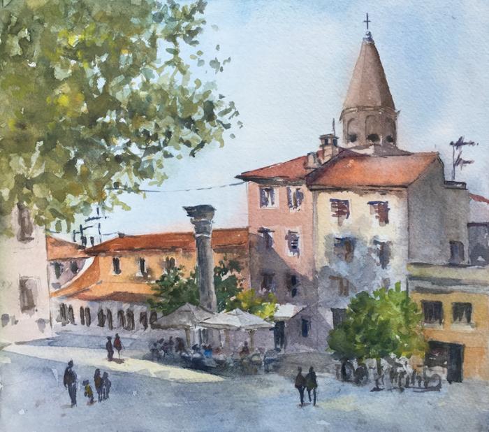 Petar Zoranić Square. 9 x 10 in, Watercolor.