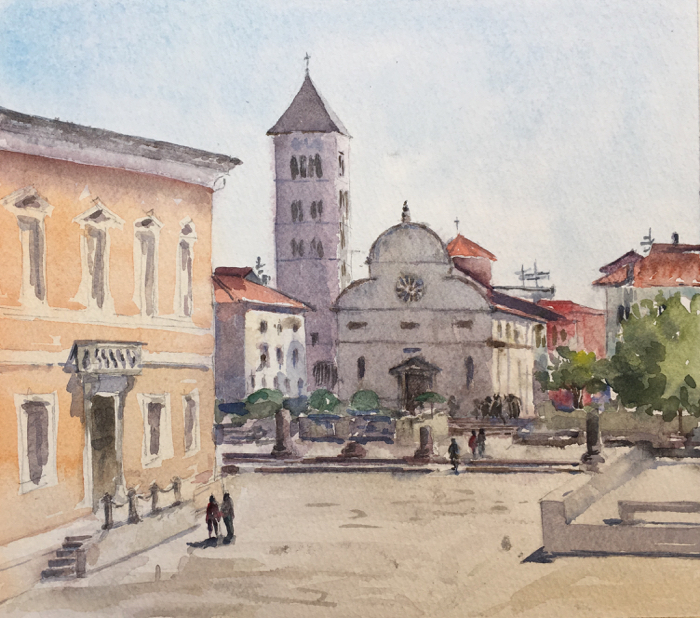 St. Mary's Church. 8 x 9,5 in, Watercolor.
