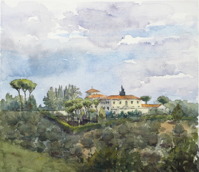 Villa Coli. 22 x 25 cm, Watercolor.