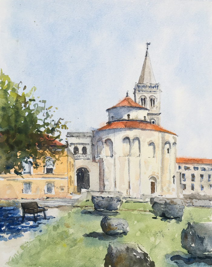 Church of St. Donatus. 9 x 11 in, Watercolor.
