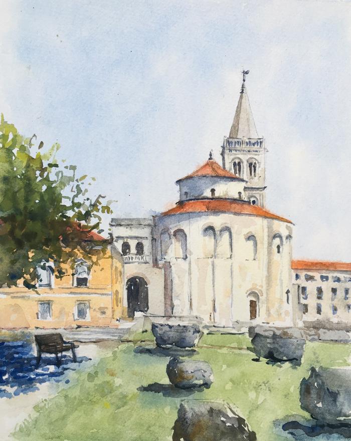 Church of St. Donatus. 9 x 11 in, Watercolor.
