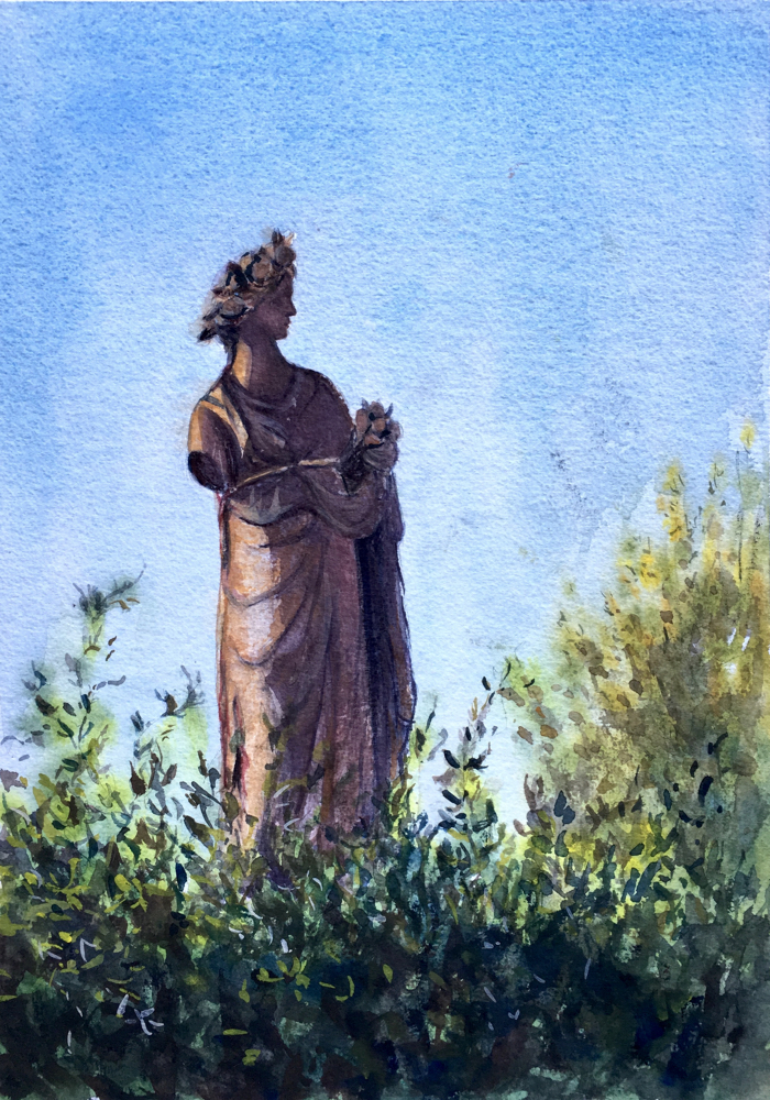 In the Garden. 23 x 33 cm, Watercolor.