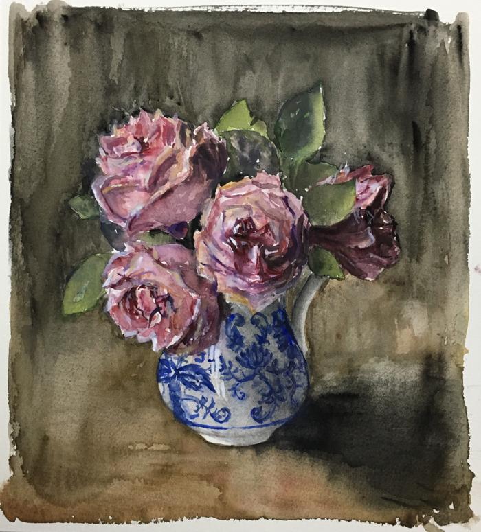 Garden Roses. 22 x 25 cm, Watercolor and Gouache.